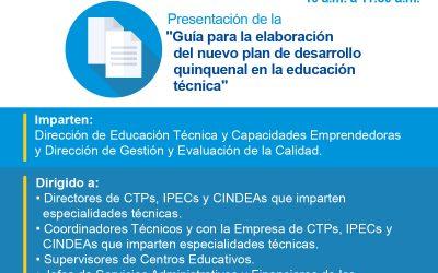 Webinar Guía de elaboración del Plan de Desarrollo Quinquenal en la Educación Técnica.