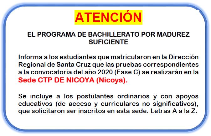 🗣 Información de Sede para las Pruebas de Bachillerato por Madurez Suficiente 2020 Fase C ✍